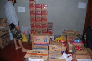 Barang barang bantuan yang disalurkan