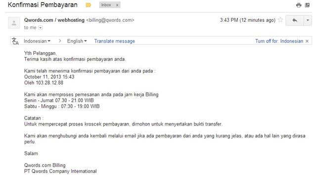 email konfirmasi pembayaran di qwords