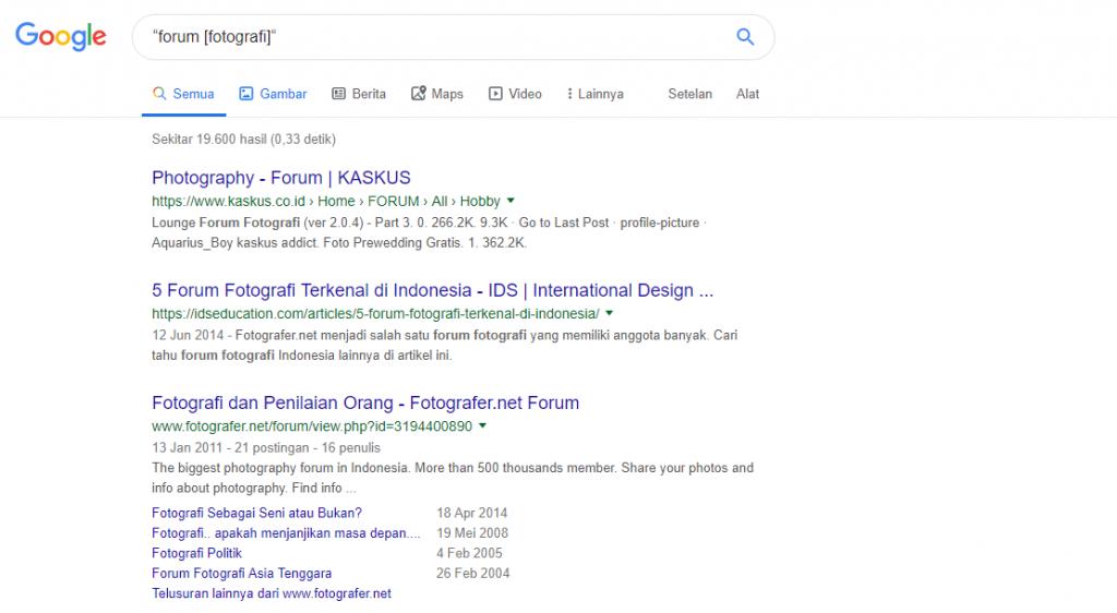 menemukan forum di google