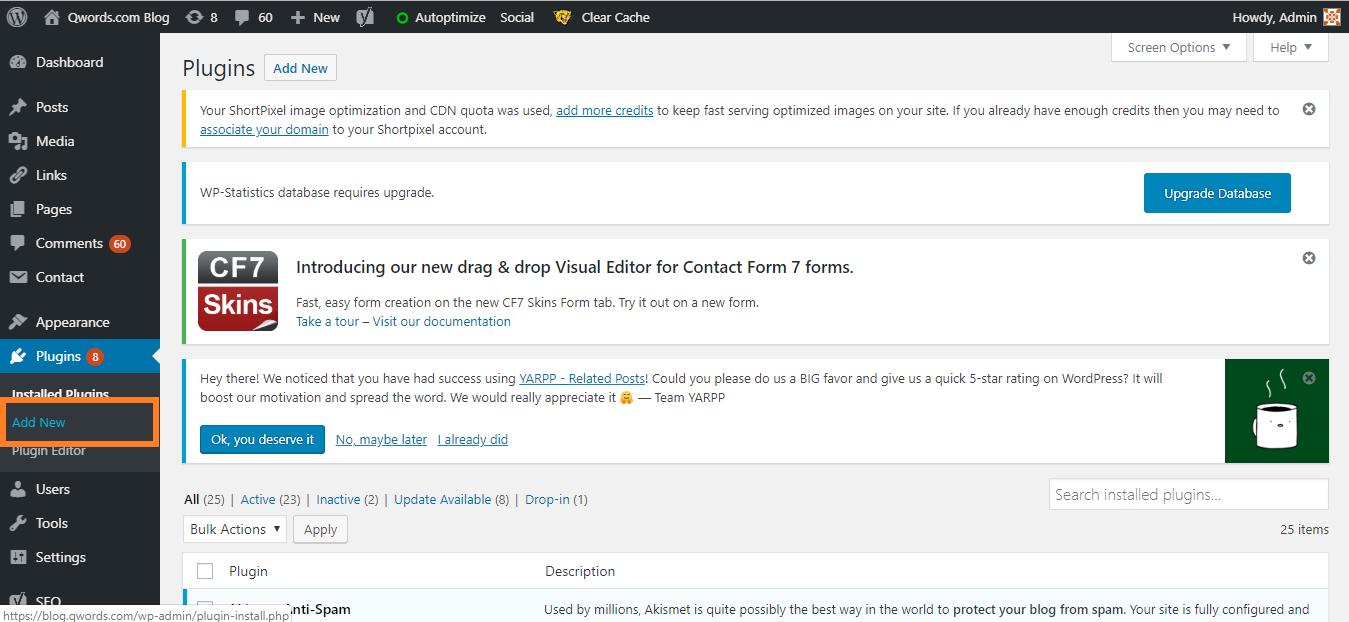 Add New Plugin di WordPress