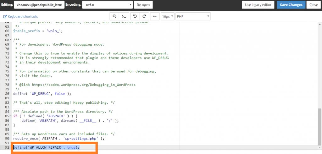 Menambahkan Coding Repair Database