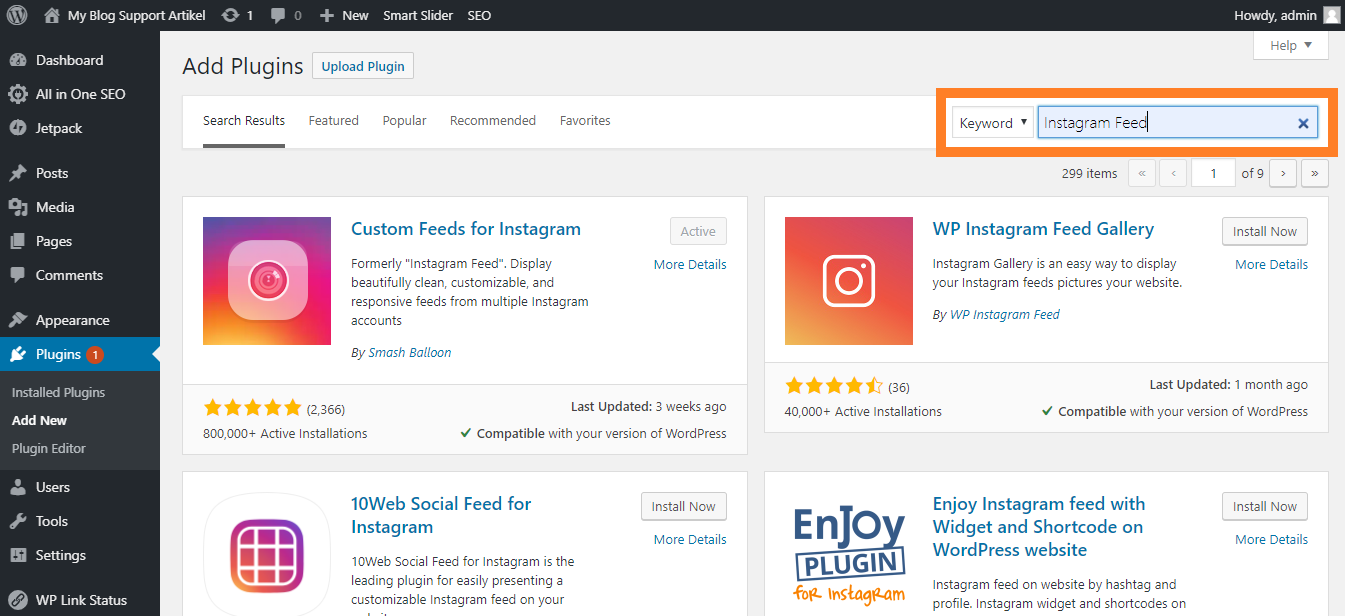 Search Plugin Instagram Feed