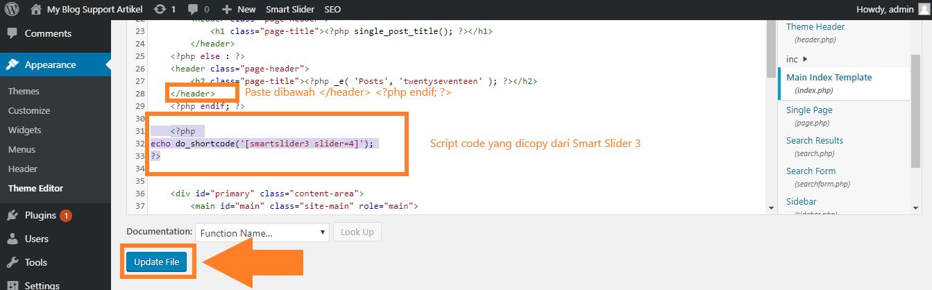 Simpan script code di themes