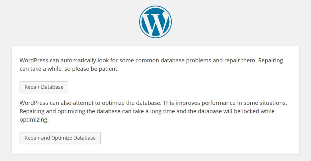 Wordpress Database Repair Info