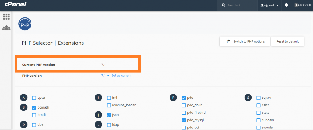 php version cPanel