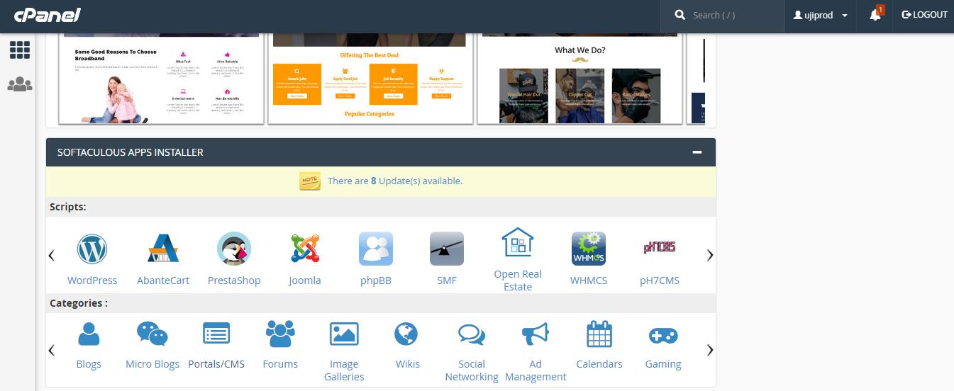 Install WordPress via Softacolous