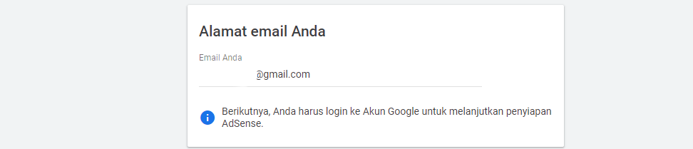Memasukan Alamat Email Untuk Adsense