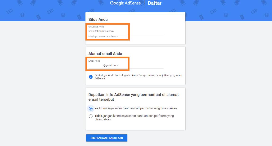Mengisi Form Google Adsense