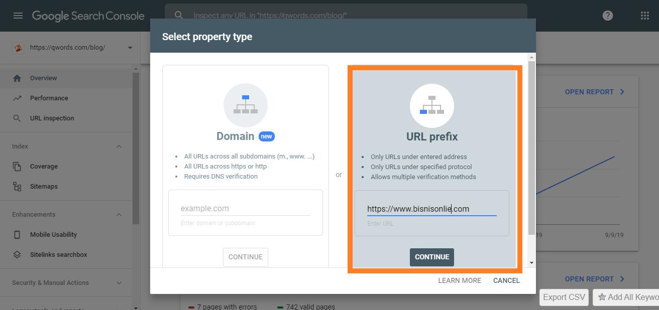 Pilih domain dan masukan URL domain