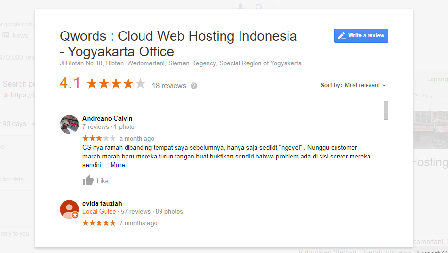 Rating Google Bisnisku