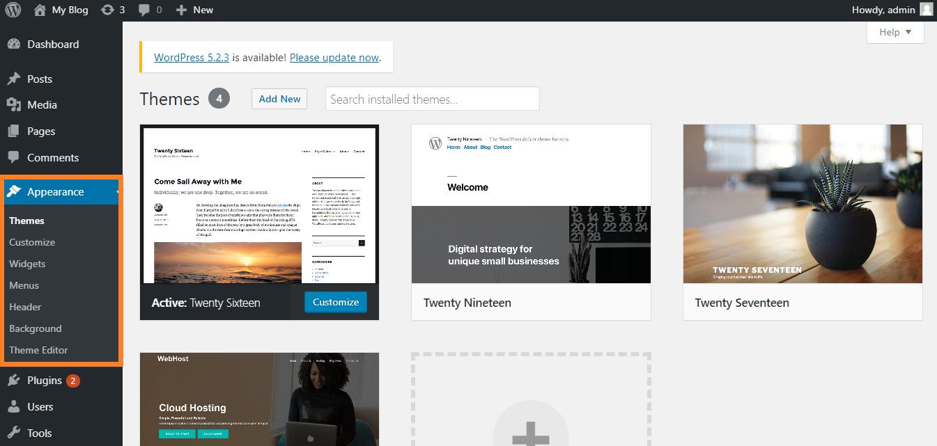 Appearance Pada WordPress