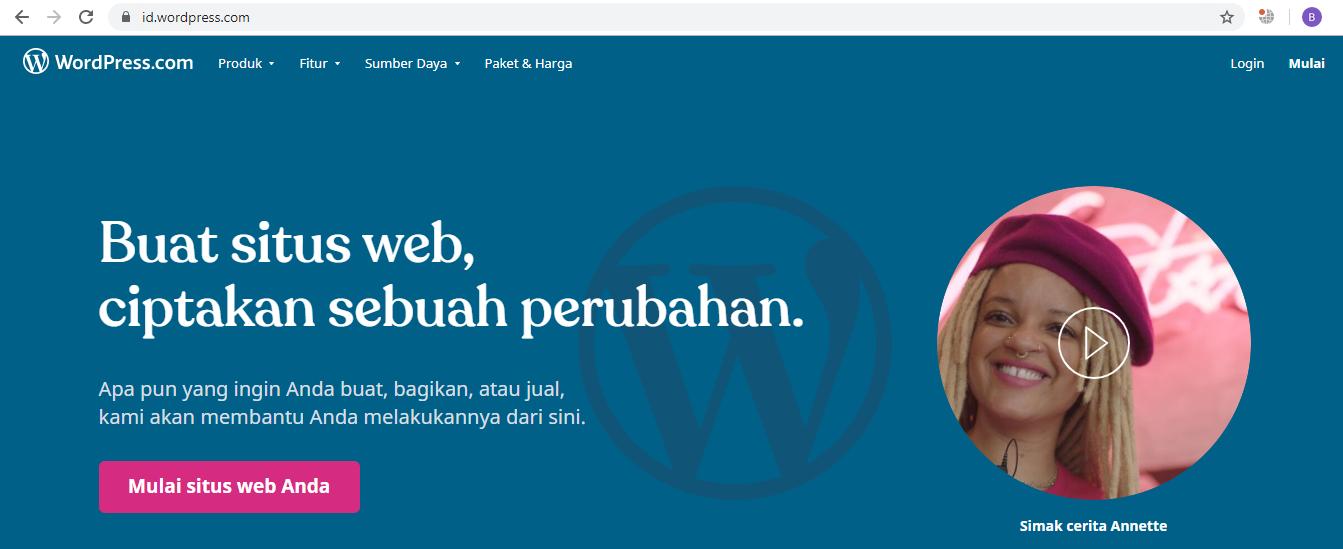 Buka URL WordPress.com