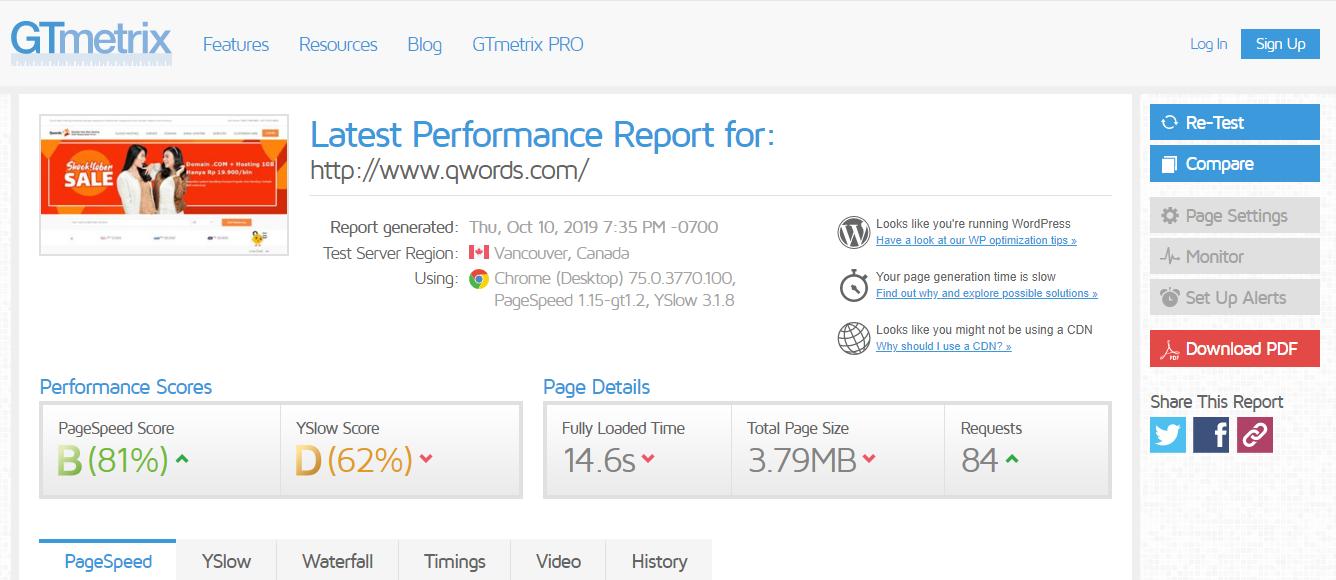 cek kecepatan blog via GTMetrix