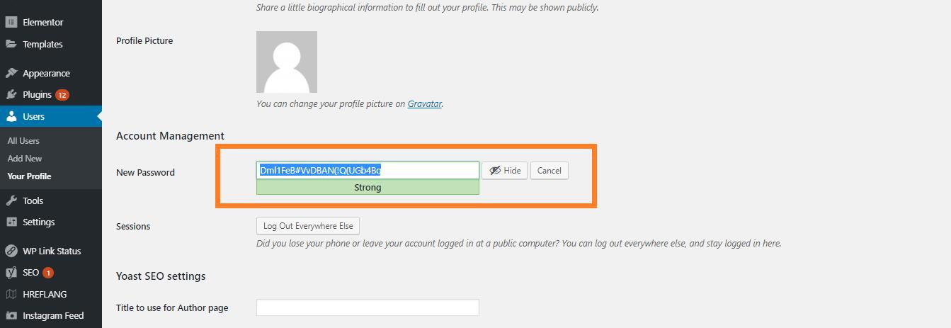 Generate Password WordPress
