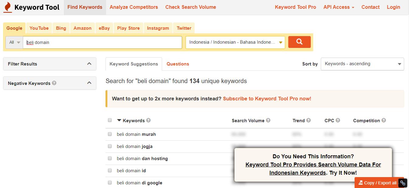 Hasil riset kata kunci dari keyword tool