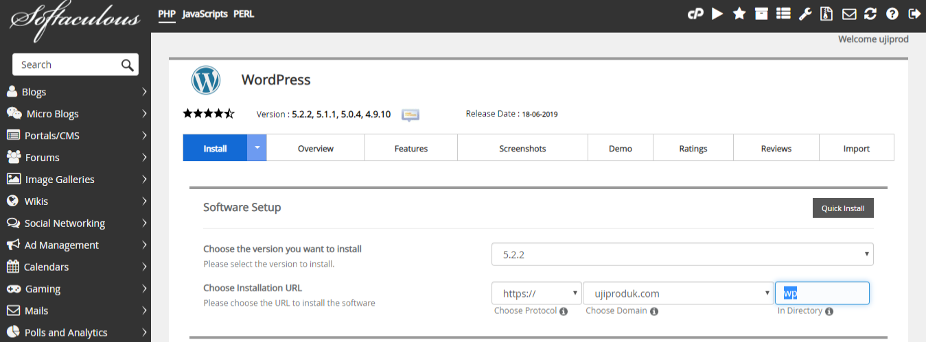 Install WordPress Pada Root Domain