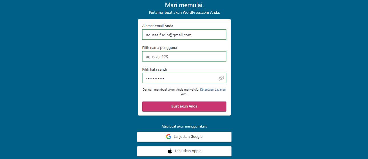 Memasukan email, nama pengguna dan kata sandi