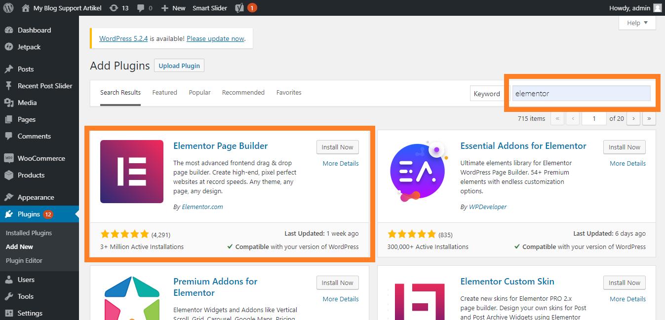Menginstall Elementor Page Builder