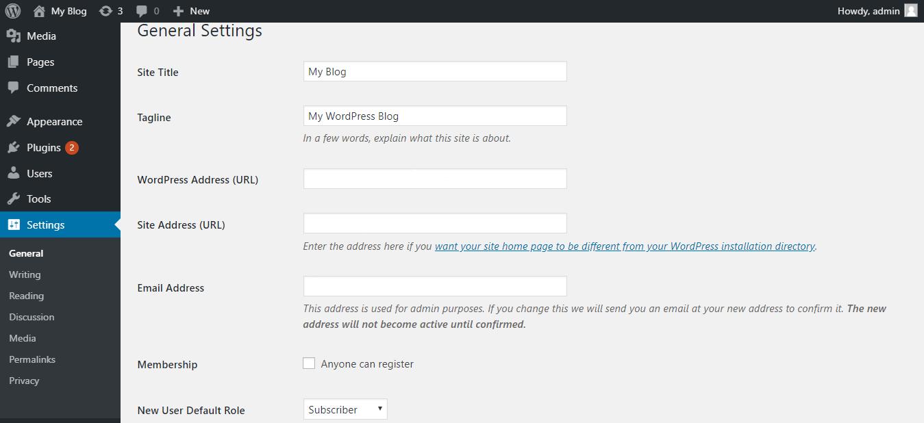 Settings Pada WordPress