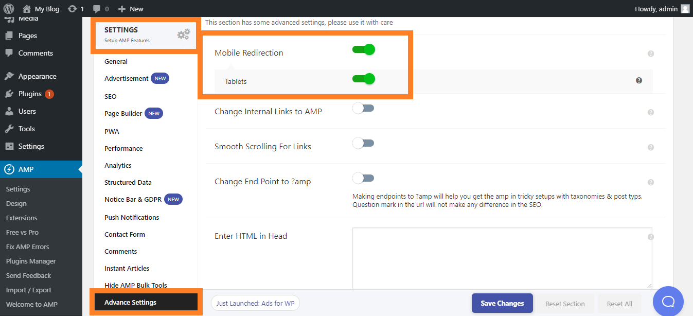 Setting Auto Redirection AMP WordPress