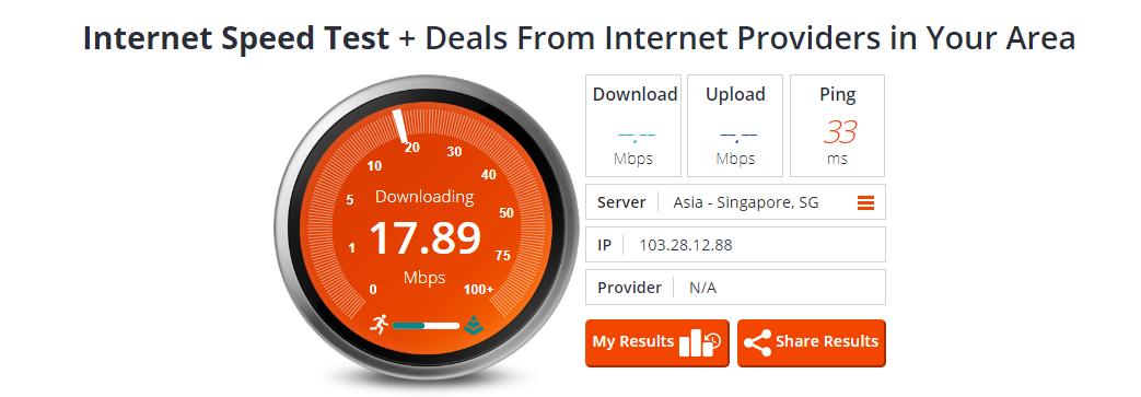 Test Kecepatan di Bandwidth Place