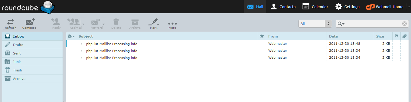 Dashboard Email Bisnis Roundcube