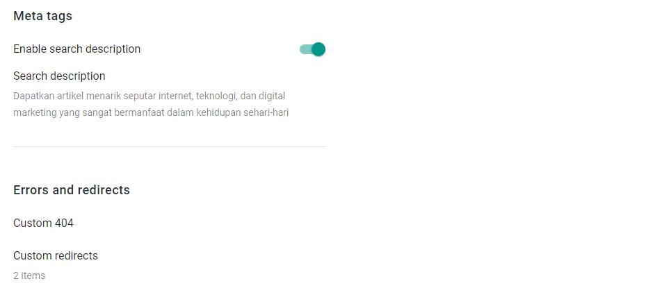 Menu setting redirect blogspot