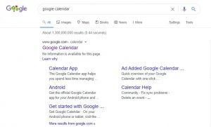 Google Calendar Website