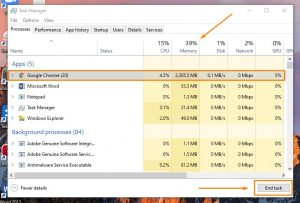 End task di Task Manager